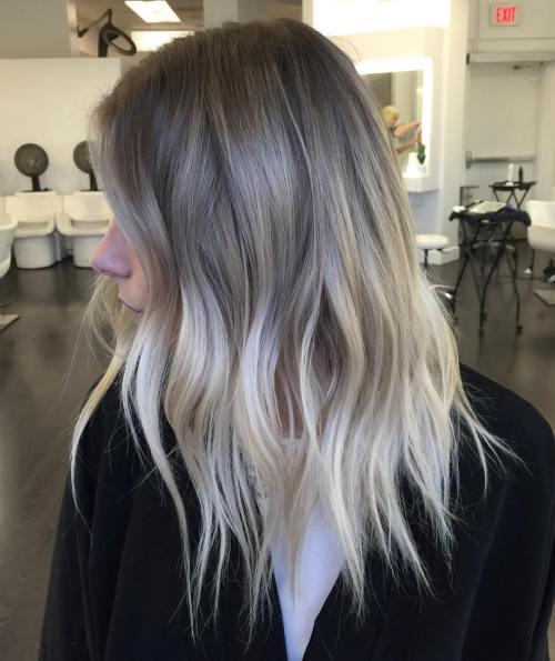 Серебряный и Блонд балаяж на волосы до плеч