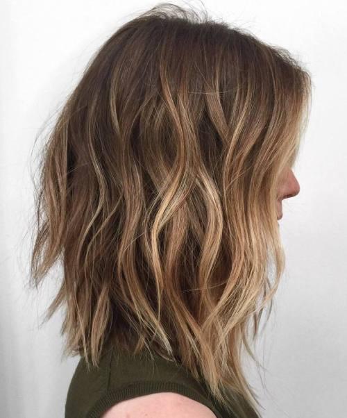 Балаяж на стрижке градуированный боб на средние волосы