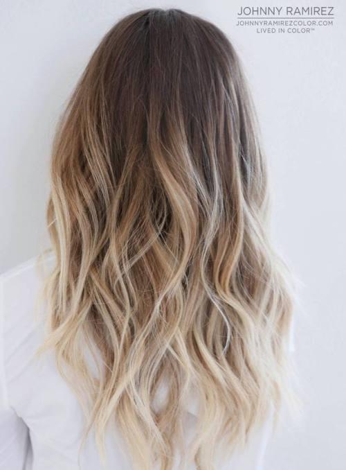 Балаяж для блондинки, растяжка цвета