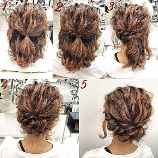 Прически на волнистые волосы средней длины