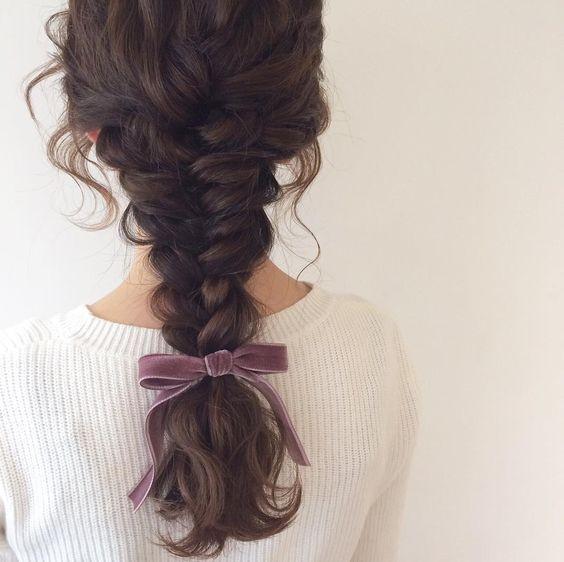 Французская коса с платком