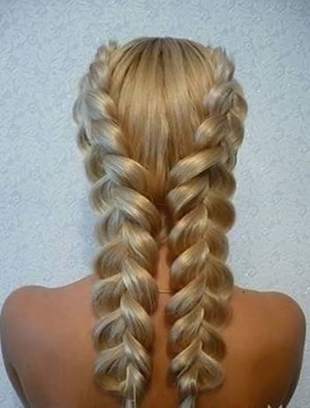 """Прическа из двух """"французских косичек"""" для тонких волос"""
