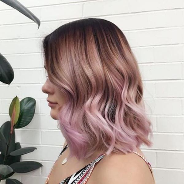 Красивая длинная прическа боб с коричнево-розовым омбре, яркие волосы, цвет волос, вдохновляющий цвет волос, каштановые волосы, черные волосы, розовый цвет волос, прическа, длинный боб, светлые волосы