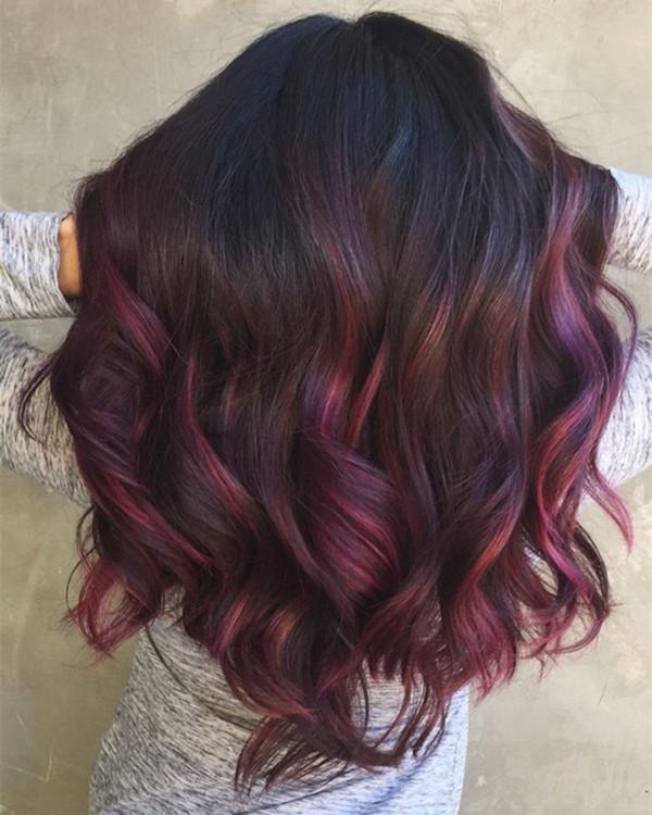 Коричневый цвет ombre, идея цвета волнистых волос, яркие волосы, цвет волос, вдохновляющий цвет волос, каштановые волосы, черные волосы, розовый цвет волос, прическа, длинный боб, светлые волосы