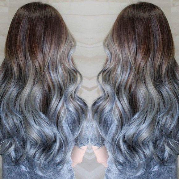 каштановые волосы, вам понравится этот ледяной синий цвет волос ombre, яркие волосы, цвет волос, вдохновение для цвета волос, каштановые волосы, черные волосы, синий цвет волос, прическа, ледяные синие волосы, длинный боб, светлые волосы