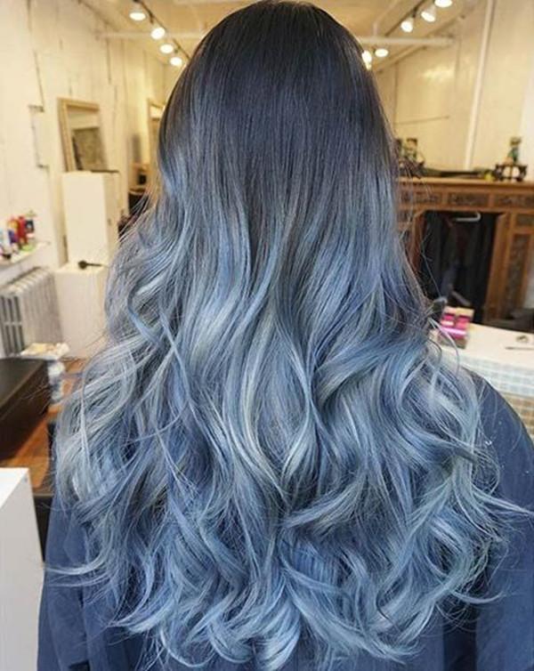 синий омбре балаяж, красочные волосы, цвет волос, вдохновение цвета волос, каштановые волосы, черные волосы, синий цвет волос, прическу, ледяные синие волосы, длинный боб, светлые волосы