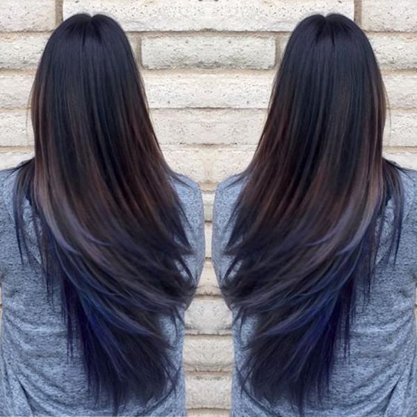 Довольно голубые волосы омбре с длинными прямыми черными волосами девушек, красочные волосы, цвет волос, вдохновение цвета волос, каштановые волосы, черные волосы, синий цвет волос, прическа, ледяные синие волосы, длинный боб, мелирование волос