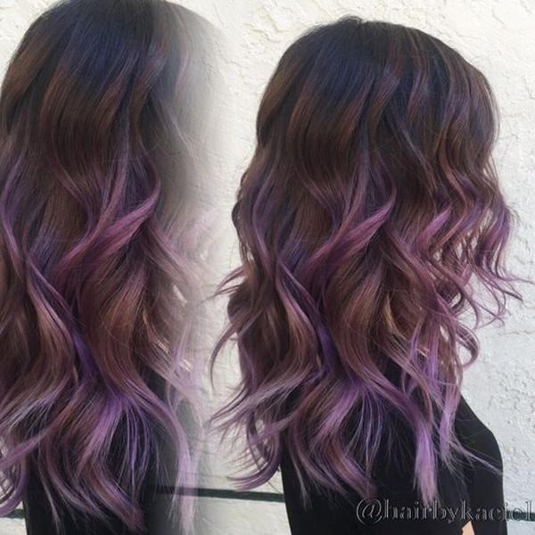 яркие волосы, цвет волос, вдохновляющий цвет волос, каштановые волосы, черные волосы, фиолетовый цвет волос, прическа, волосы лаванды, длинный каре, мелирование